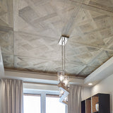 Louis XIV Lorraine French White Oak Hardwood Parquet installed on ceiling with suspended lighting