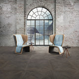 Louis XIV French White Oak Parquet with Circle Cut Window and Mountain View