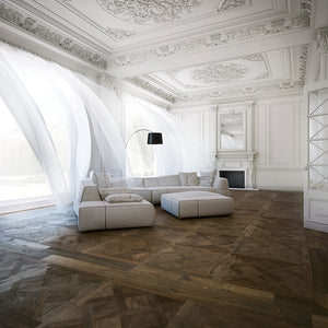 Louis XIV Castillon French White Oak Parquet Hardwood in a French Living Room with Ornate Molding