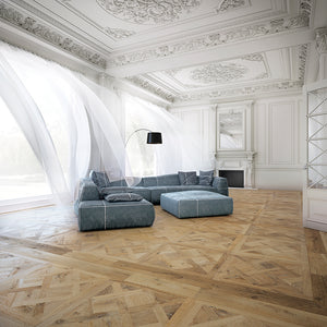 Louis XIV Champagne French White Oak Parquet Hardwood in a French Living Room with Ornate Molding