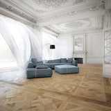 Louis XIV Champagne French White Oak Hardwood in a French Living Room with Ornate Molding