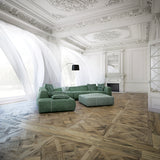 Louis XIV Lorraine French White Oak Hardwood Parquet in a French Living Room with Ornate Molding