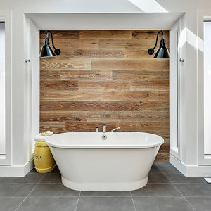 Cosmopolitan Malibu European Oak Hardwood installed in bathroom feature wall