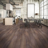 Quest Tracks Walnut Luxury Vinyl in an industrial kitchen