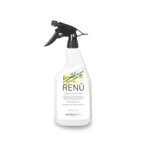 A bottle of RENU - a specially forumated hard surface floor cleaner