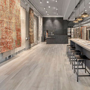 Cosmopolitan Rome European Oak Hardwood installed in Tufenkian Rug's Chicago Showroom