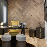 Farmhouse Vernazza European Oak Hardwood in Herringbone Used as a Feature Wall