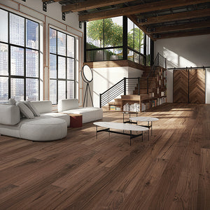 Farmhouse Corsanello Walnut Hardwood in an Industrial Loft