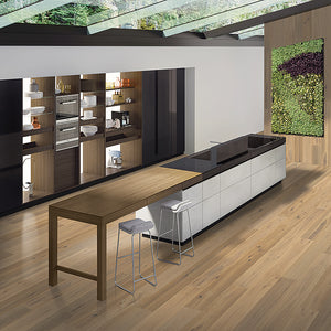 Cosmopolitan Scantily Clad European Oak Hardwood in Contemporary Kitchen