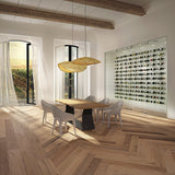 Farmhouse Vernazza European Oak Hardwood Herringbone in a Contemporary Dining Room