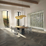 Cosmopolitan Charlie European Oak Hardwood Chevron in Contemporary Dining Room