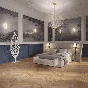 Cosmopolitan Naked European Oak Hardwood Chevron in a Bedroom Setting