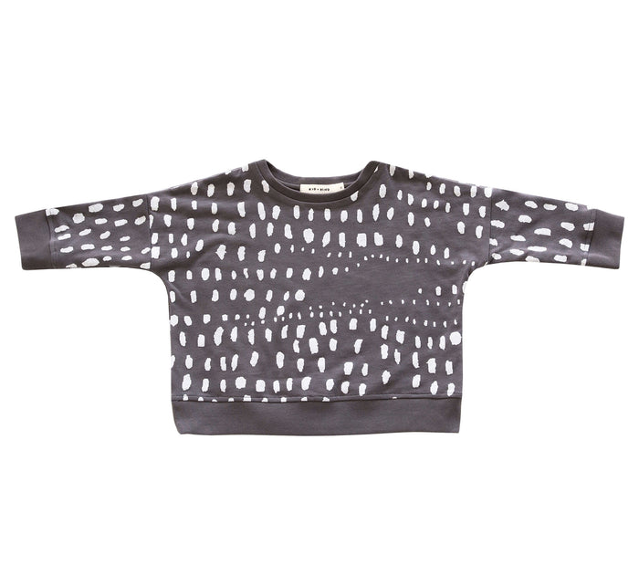 Dots in a Row Sweatshirt in Charcoal