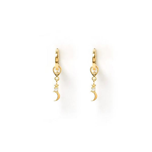 Crescent Gold Charm Earrings
