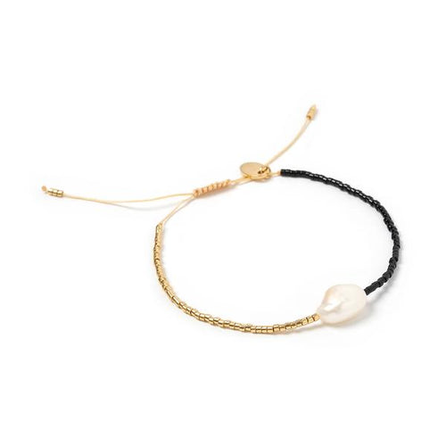 Matilda Pearl & Glass Beaded Bracelet - Black