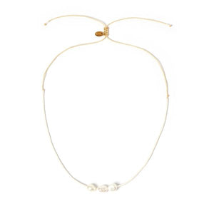 Sage Gold And Pearl Choker - White