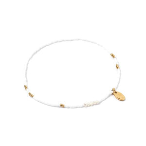 Poppy Pearl & Glass Beaded Anklet - White