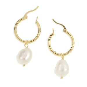 Augutsta Gold Hoop & Freshwater Pearl Earrings - Small - CRAVE WARES