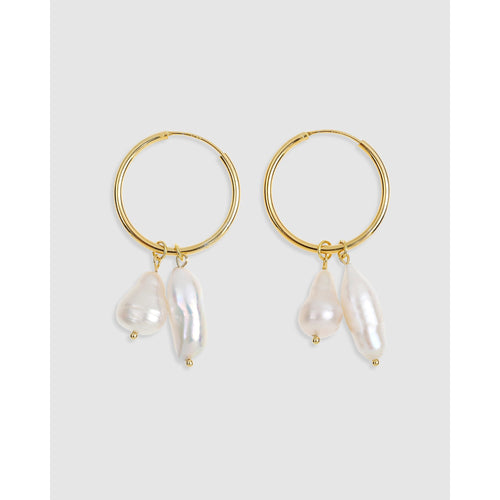 Augusta Gold Hoop & Freshwater Pearl Earrings - Medium