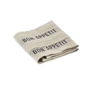 Bon Appetit Tea Towel - Black/Natural - CRAVE WARES