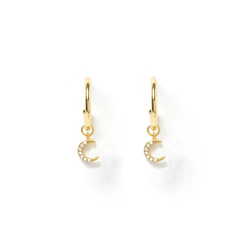 Moonstruck Gold Charm Hoop Earrings