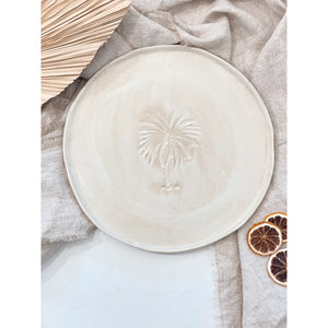 Palm Tree Oversized Round Plate - Sand Wash