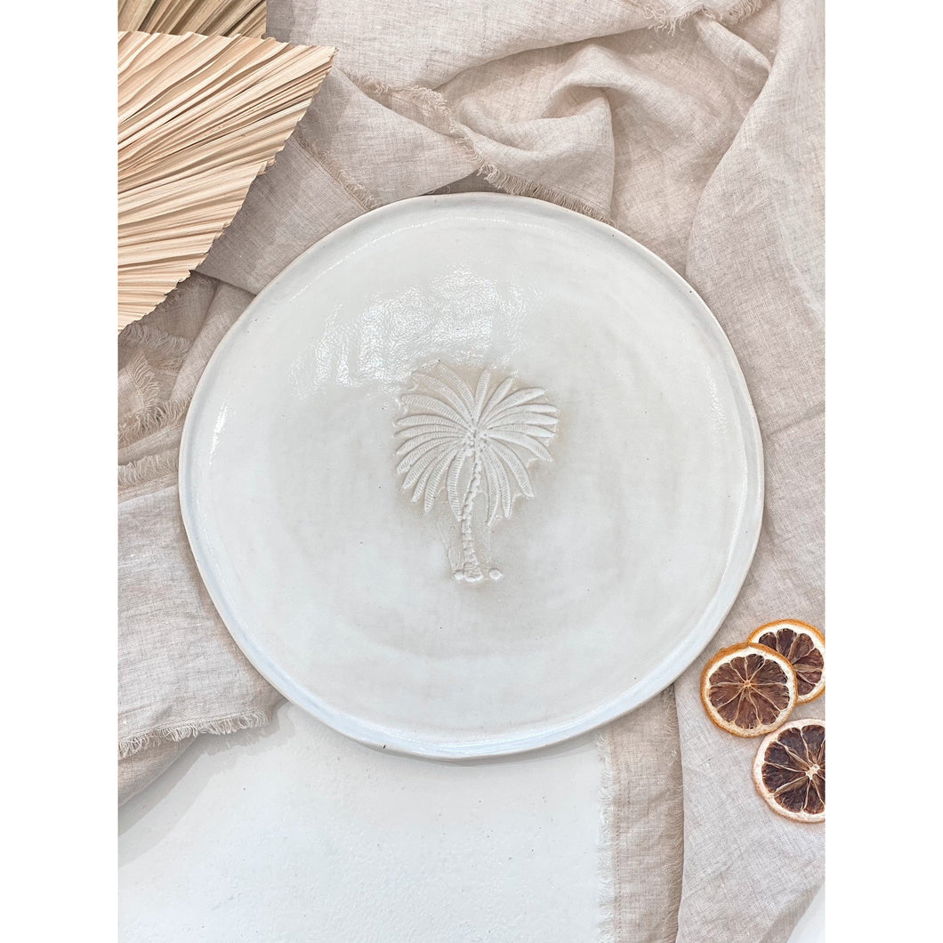 Palm Tree Oversized Round Plate - White Glaze