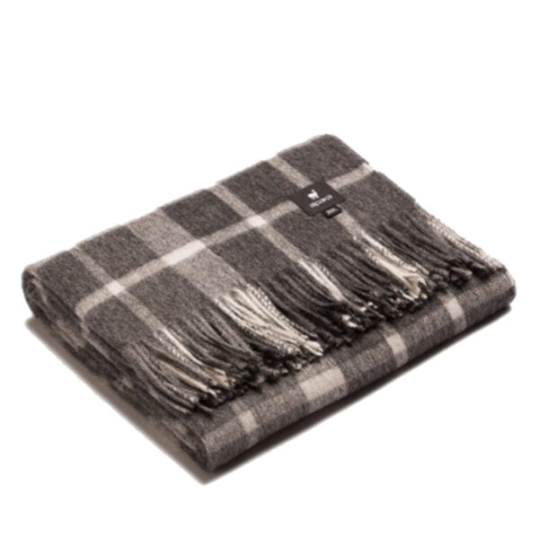 Alpaca Throw - Checkered Grey