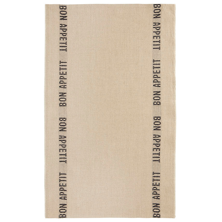 Bon Appetit Tea Towel - Natural/Black