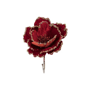 Spanish Flower Clip - Red & Gold
