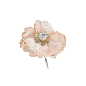 Blossoming Beaded Flower Clip - Pink