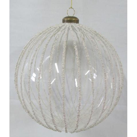 Large Clear Bauble - Silver Beading