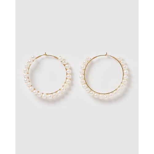Emery Freshwater Pearl Hoop Earrings