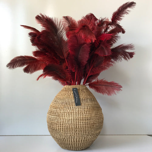 Ostrich Feather Pick Decoration - Red