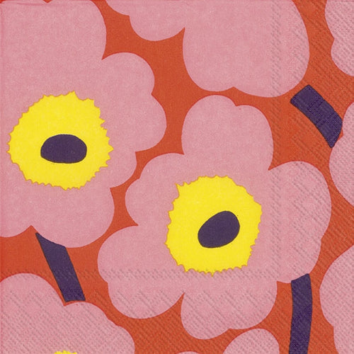 Disposable Lunch Napkin - Unikko Rose Orange