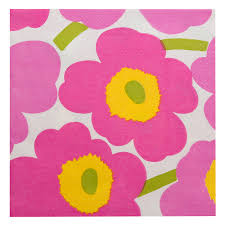 Disposable Lunch Napkin - Unikko Light Pink