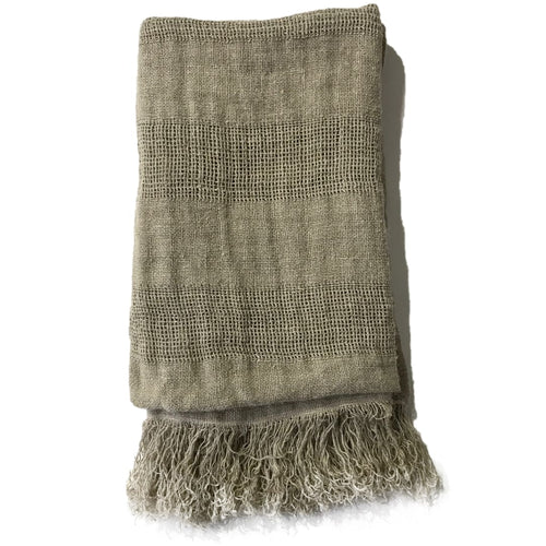 Handwoven Linen Throw - Natural