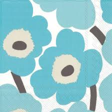Disposable Lunch Napkin - Unikko Turquoise