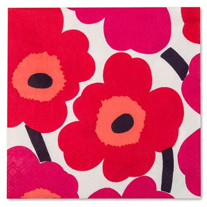 Disposable Lunch Napkin - Unikko Red