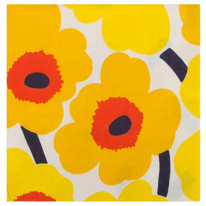 Disposable Lunch Napkin - Unikko Dark Yellow