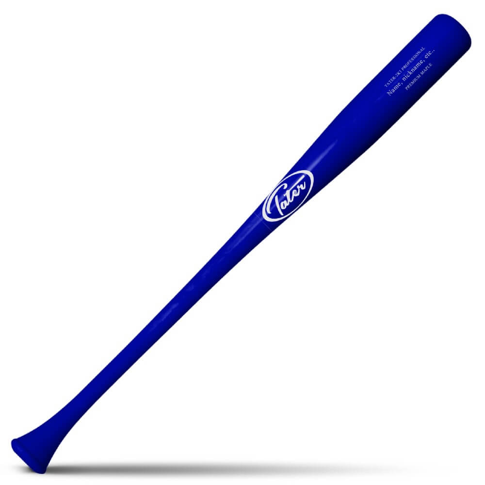 2K1 Wood bat model which has a distinctive flared knob manufactured by Tater Bats