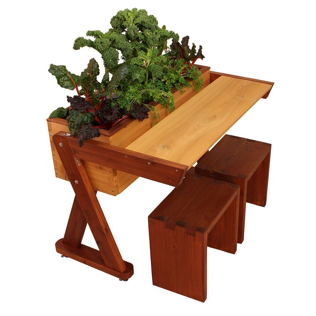 SaladBar - Mobile Self-Watering Planter with fold out Table & Stools