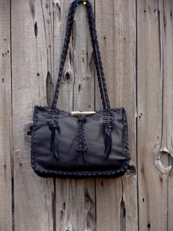Black leather tote, new design leather bag