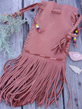 Fringed cedar bag , Drawstring leather pouch , Drawstring leather wrist bag