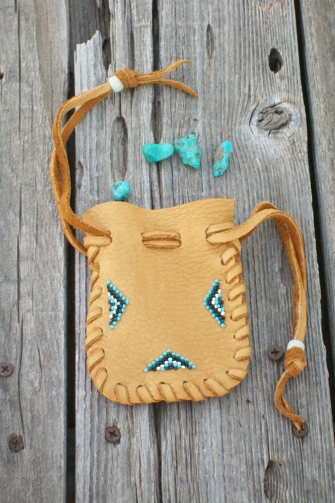 Leather medicine pouch , beaded amulet bag