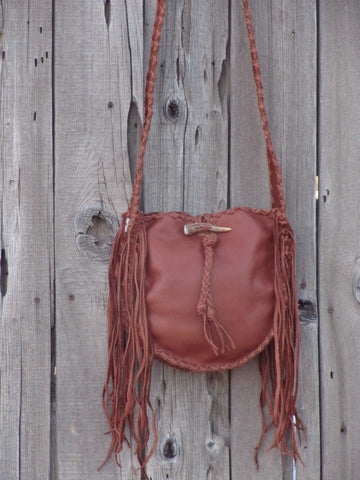 Fringed leather handbag , Soft leather tote with fringe , Fringed leather purse