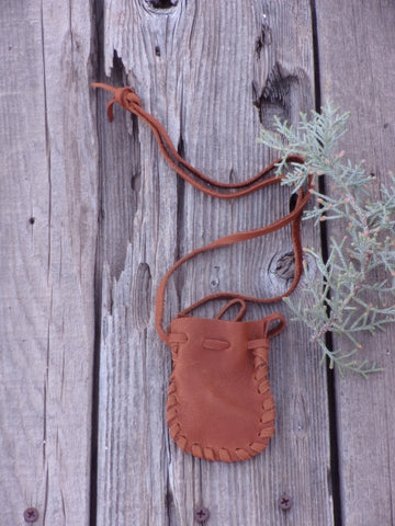 Leather medicine bag . Leather crystal bag , Necklace bag