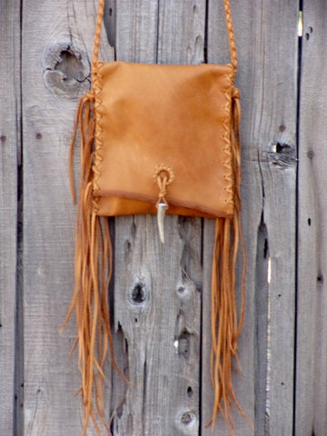 Crossbody leather purse , Leather handbag with fringe , Crossbody phone bag