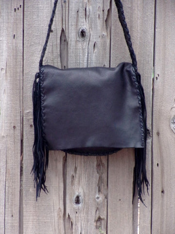 Handmade black leather handbag , Black leather purse with fringe , Boho handbag black