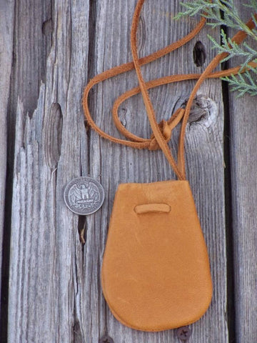 Leather medicine bag , Leather neck bag , Amulet bag